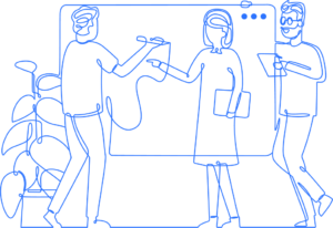 Clara blue outline illustration of employees collaborating around a whiteboard